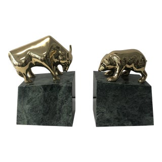 Vintage Marble and Brass Bull and Bear Bookends - a Pair For Sale
