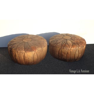 Pair of Vintage French Country Rustic Leather Ottomans W Pair Vintage French Country Rustic Leather Ottomans W Embossed Leather Figures Preview