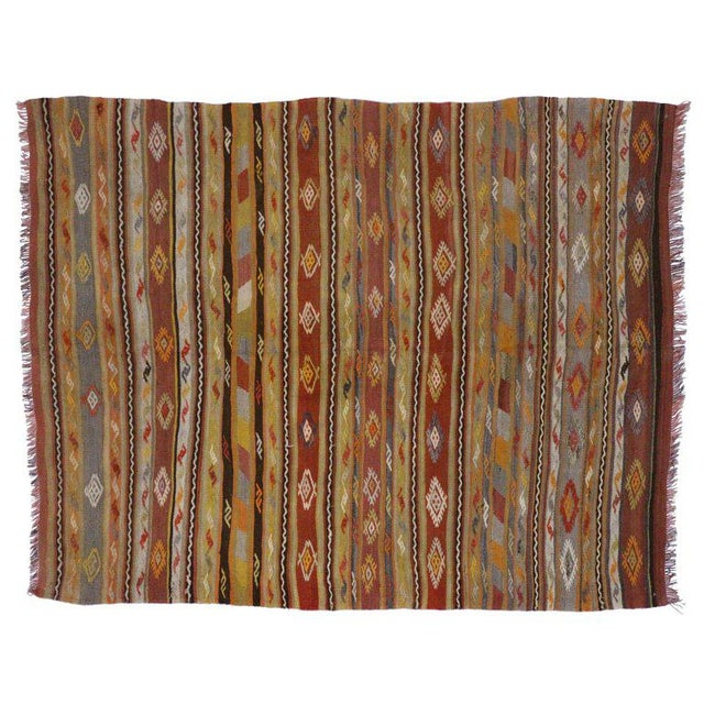 51282, vintage Turkish Kilim rug, flat-weave Kilim Tribal rug. This handwoven wool vintage Turkish Kilim rug features...