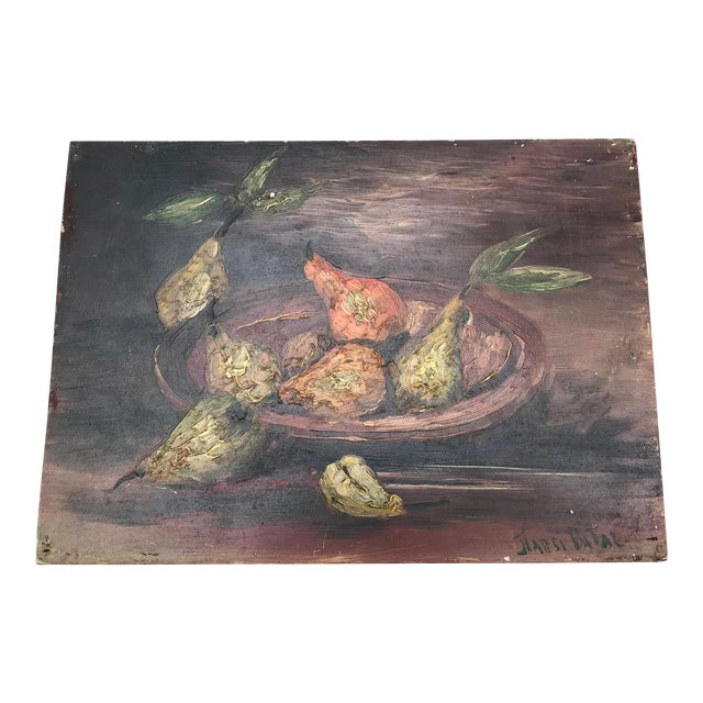 Old World French Still Life With Pears For Sale