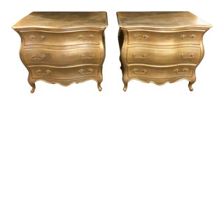 Hollywood Regency Bombe Pale Gold Gilt Bedside Stands or Commodes a Pair For Sale