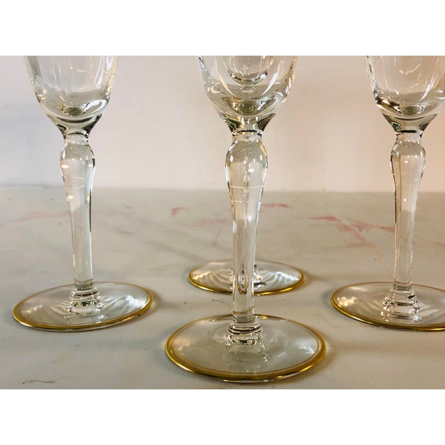 Glass Hollywood Regency Double Gold Rim Champagne Stems, Set of 4 For Sale - Image 7 of 10