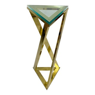 Brass Triangular Pedestal Table With Glass Top For Sale