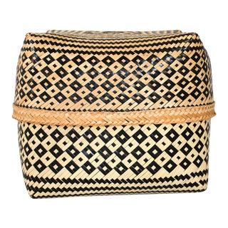 Lidded Woven Wicker Basket For Sale