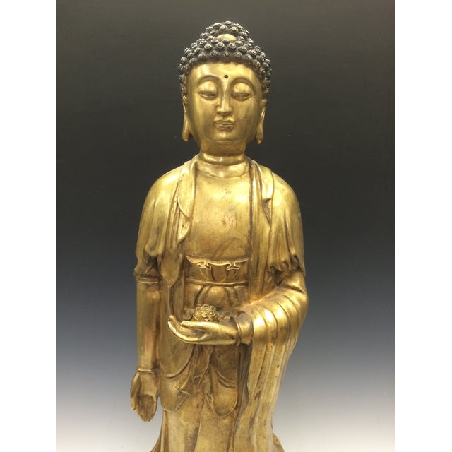 Chinese Art Gold Gilt Bronze Standing Kwan Yin Sculpture - Image 7 of 10
