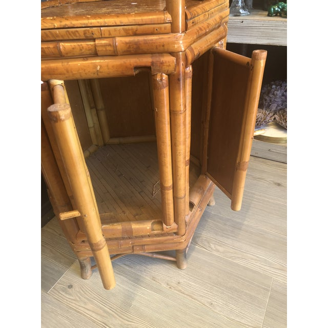 Glass Vintage Boho Chic Bamboo Etagere For Sale - Image 7 of 9