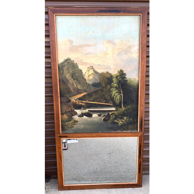 French French Trumeau Mirror With Idyllic Pastoral Landscape For Sale - Image 3 of 12