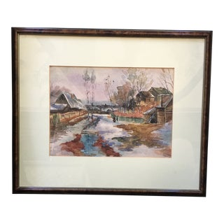 1970s Vintage Vladimir Ovchinnkov Framed Watercolor Painting For Sale