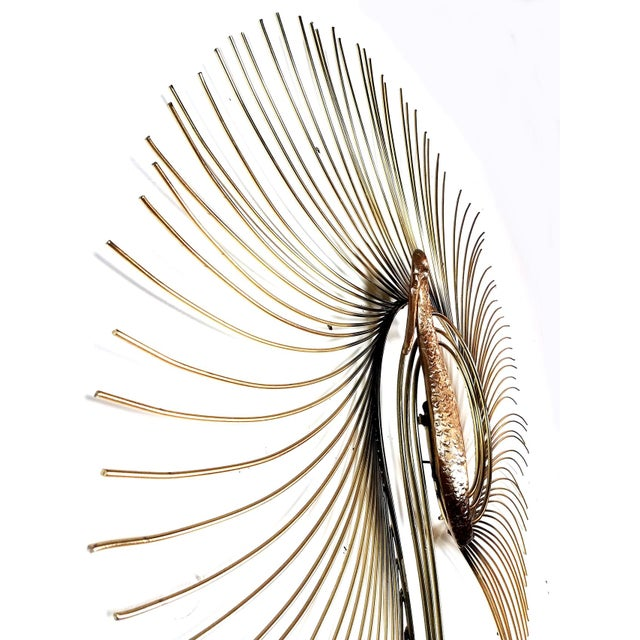 Brutalist C. Jere Brass Peacock Wall Sculpture For Sale - Image 3 of 7