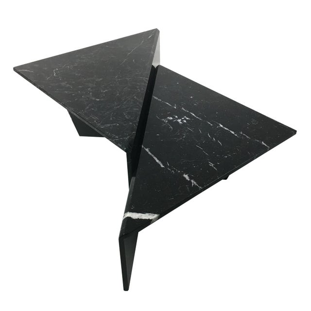 Fantastic sculptural two-piece, bi-level cocktail table in beautifully figured Nero Marquina marble. The table can be...
