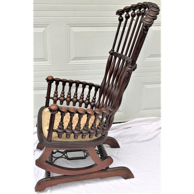 """Late 19th Century Late 19th Century George Hunzinger Highback """"Lollipop"""" Platform Rocking Chair For Sale - Image 5 of 13"""