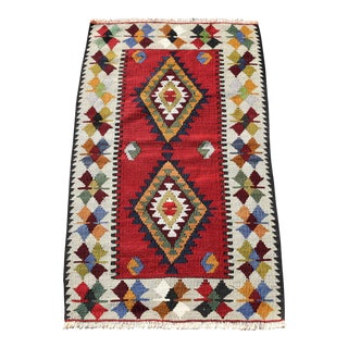 1.9 X 3.3 Ft Turkish Vintage Handmade Kilim Traditional Decorative Wool Entry Rug Tribal Hand-Knotted Kilim Rug Oushak Weave Small Kilim For Sale