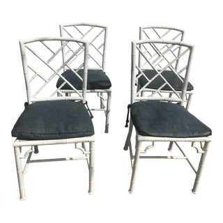 1970s Vintage Faux Bamboo Dining Chairs - Set of 4 For Sale