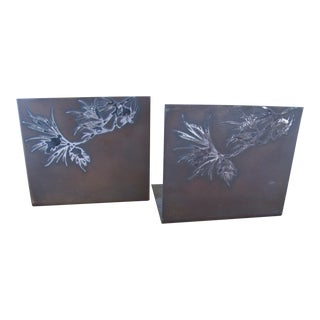 Arts & Crafts Copper and Silver Bookends - a Pair For Sale