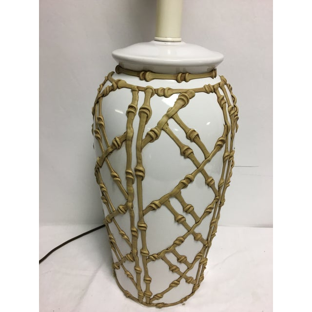 Vintage Faux Bamboo Lamp For Sale - Image 4 of 7