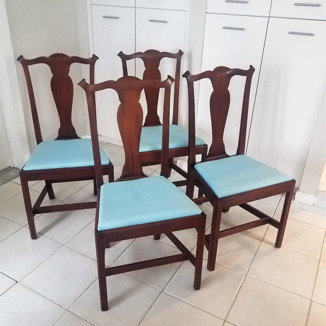 Chippendale style chairs made in the 1950s. They are made of mahogany and have a nice color with life to them. Traditional...