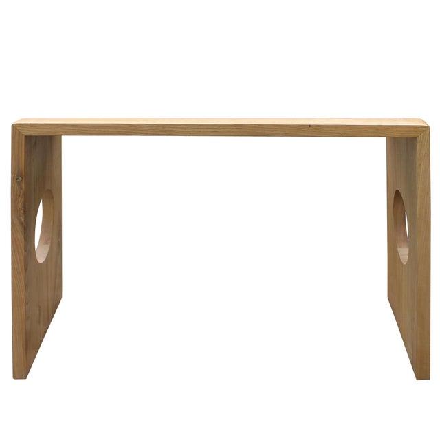 Oriental Zen Unfinished Wood Slim Open Side Table For Sale - Image 4 of 8