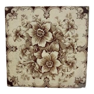 Antique French Floral Motif Tile For Sale