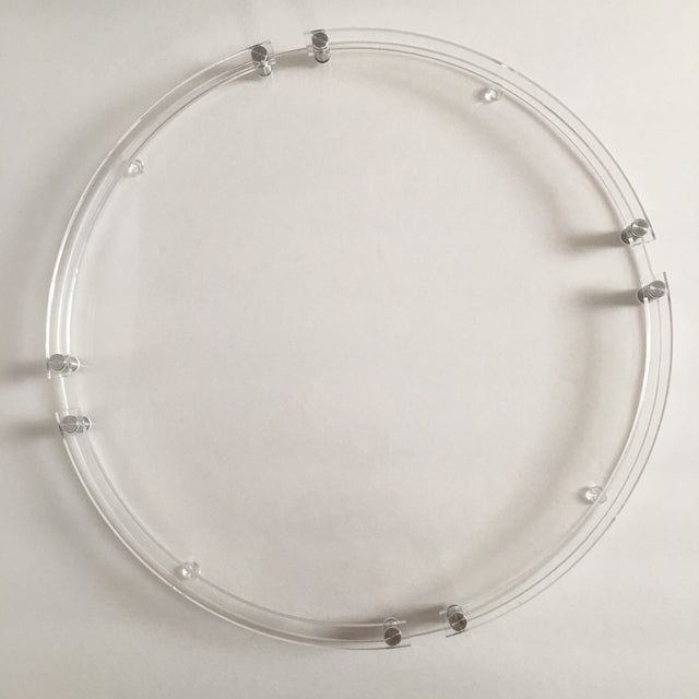 Industrial Modern Round Lucite & Metal Tray For Sale - Image 3 of 5