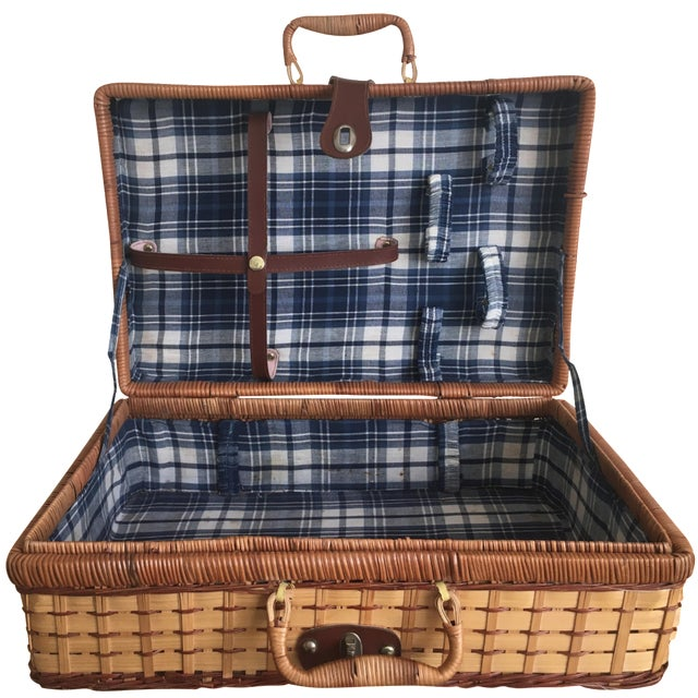 Blue Plaid-Lined Rattan Picnic Basket - Vintage - Image 1 of 11
