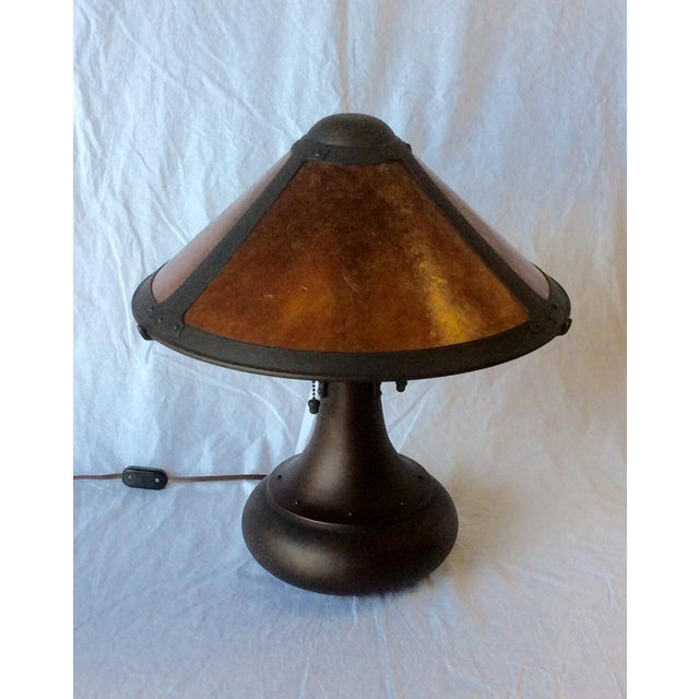 Early American Micah Lamp Company Coppersmith #006 Onion Table Lamp by Dirk Van Erp For Sale - Image 3 of 5
