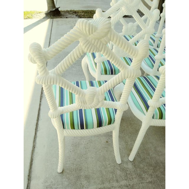 Nautical Set of 10 Stunning Gloss White Rope Knot Nautical Coastal Twisted Dining Room Chairs W/Blue Striped Fabric For Sale - Image 3 of 11