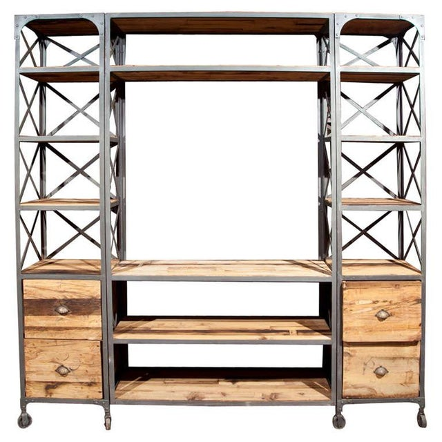 Industrial Wood & Metal Entertainment Center - Image 1 of 10