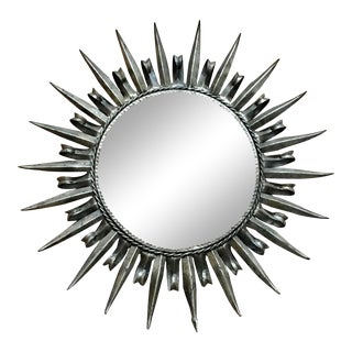 1960s Silver Leaf Metal Sunburst Mirror