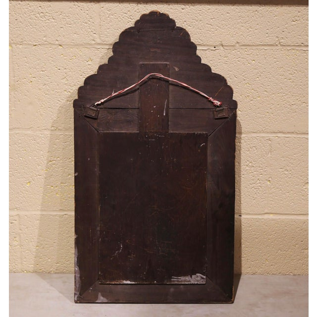 Metal 19th Century French Napoleon III Repousse Brass Wall Mirror With Inside Brushes For Sale - Image 7 of 8