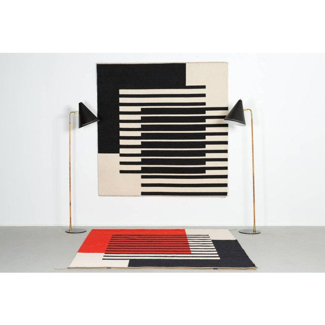 Handwoven by textile artist Ruth Malinowski Denmark Signed and dated 1986. Hand woven wool in white and black stripe...