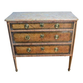 18th Century Louis XVI Style Original Marble Top In-Lay Two-Drawers Commode