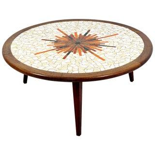 Mid-Century Modern Sunburst Tile Top Wood Coffee Table Hohenberg Martz Era For Sale
