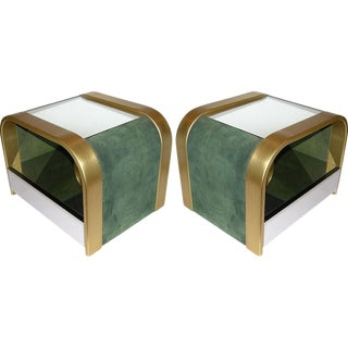 1970s Romeo Rega Brass and Chrome Open Side Tables - a Pair For Sale