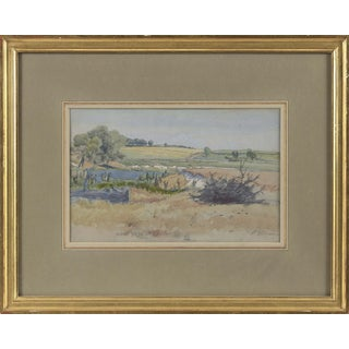 "Late 19th Century ""Pennsylvania Rolling Hills"" Watercolor Painting by Peter Moran, Framed For Sale"