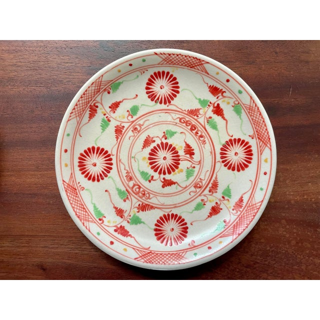 Ceramic Vintage Red Flower Folk Art Plates- a Pair For Sale - Image 7 of 8