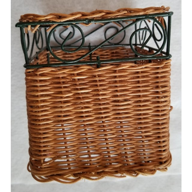 Green Late 20th Century Wicker and Green Metal Wire Wall Shelves - 3 Pieces For Sale - Image 8 of 9