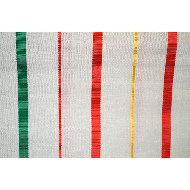 White, Red & Green Japanese Linen Kimono Obi Cheques Antique For Sale In Los Angeles - Image 6 of 10