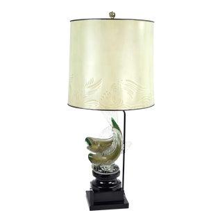 Mid-Century Alfredo Barbini Murano Bullicante Glass Fish Sculpture Lamp For Sale