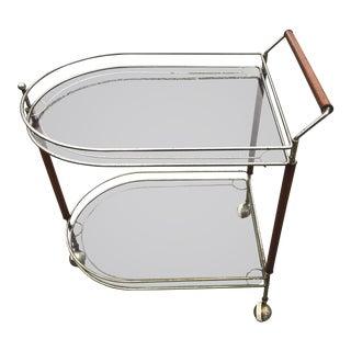 Mid-Century Brass & Wood Tea Cart For Sale
