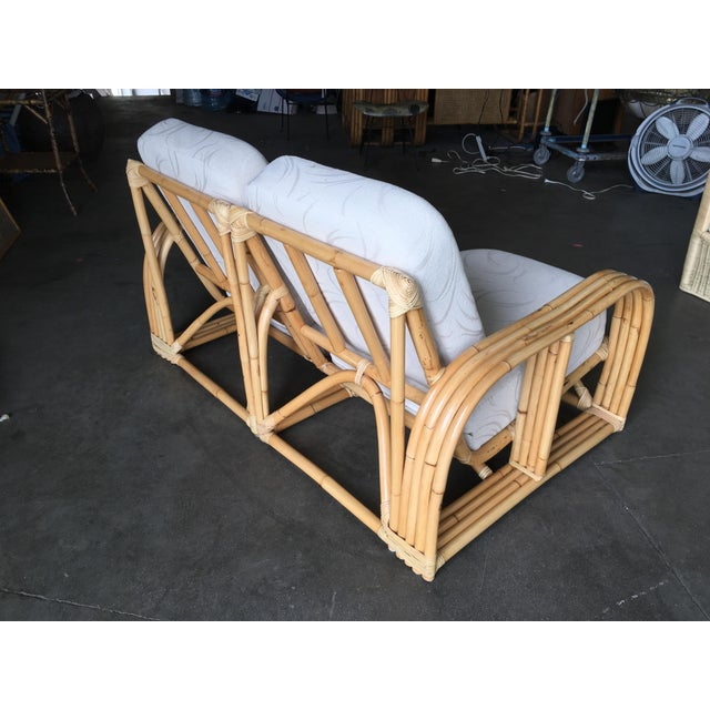 Wicker Restored Paul Lazslo Rattan Four Strand Sectional Settee Sofa For Sale - Image 7 of 9