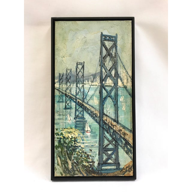 Vintage oil painting of the San Francisco - Oakland Bay Bridge signed illegibly lower right. Oil on mounted art board....