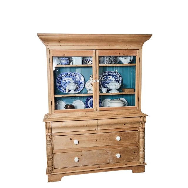 Pine Cabinet W/Blue Interior For Sale