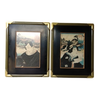 Antique Japanese Woodblock Art Prints - A Pair For Sale