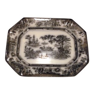 Tonquin Flow Black Mulberry Ironstone Platter Antique English Staffordshire Mid 19th Century For Sale
