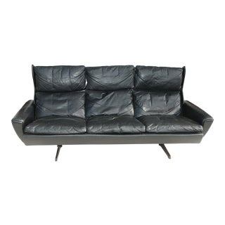 1970s Leather and Rosewood Wingback Sofa by Georg Thams for Vejen Polstermøbel For Sale