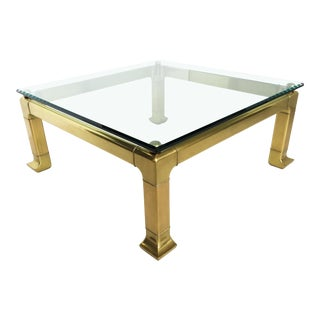 Modern Brass Coffee Table by Mastercraft With Glass Top For Sale