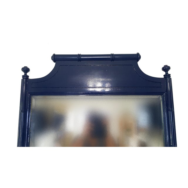 Mid-Century faux bamboo mirror this beautiful mirror is in great vintage condition. Painted in Gloss Navy blue
