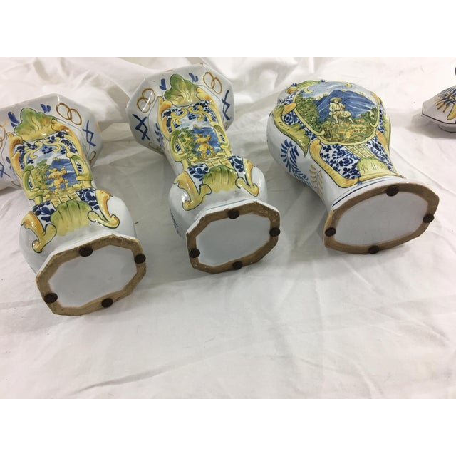 French Faience Garniture Set From Neuers Region - Set of 3 For Sale - Image 10 of 12