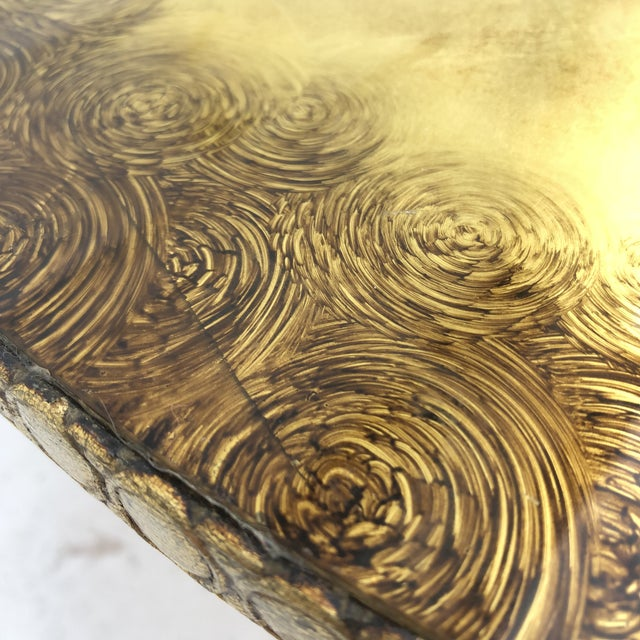 Vintage Circular Coffee Table in Gold Finish For Sale - Image 12 of 13