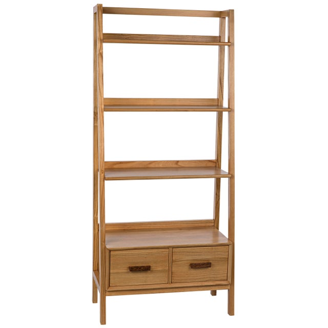 Brown Johnson Bookcase, Natural For Sale - Image 8 of 8